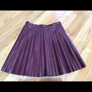 J.Crew faux leather pleated skirt size2